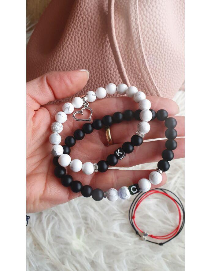 Black & White szerelmi karkötőpár betűkkel_1