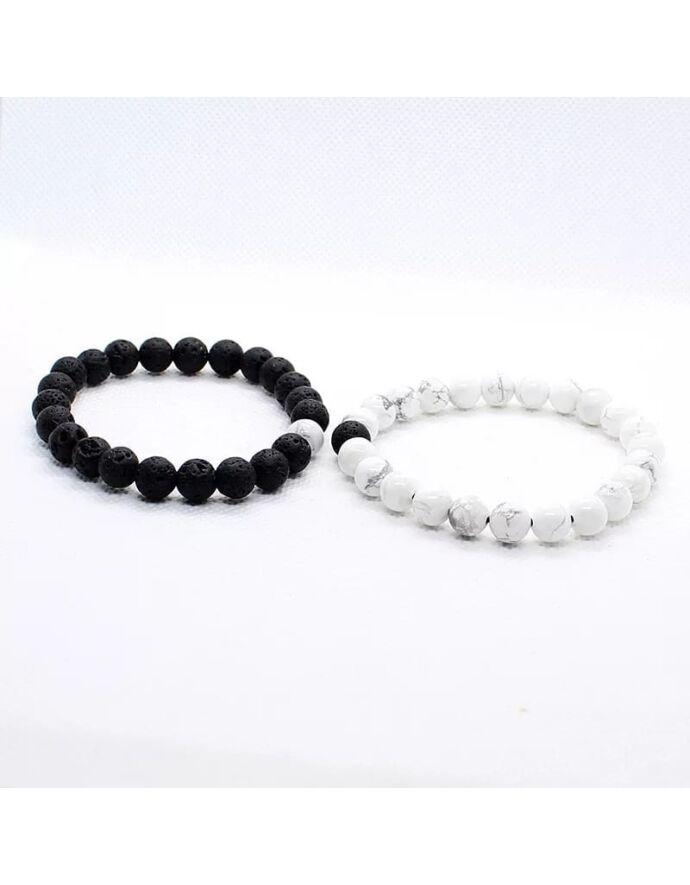 Black&White szerelmi lávakő karkötőpár _2