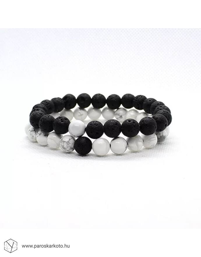 Black&White szerelmi lávakő karkötőpár _1