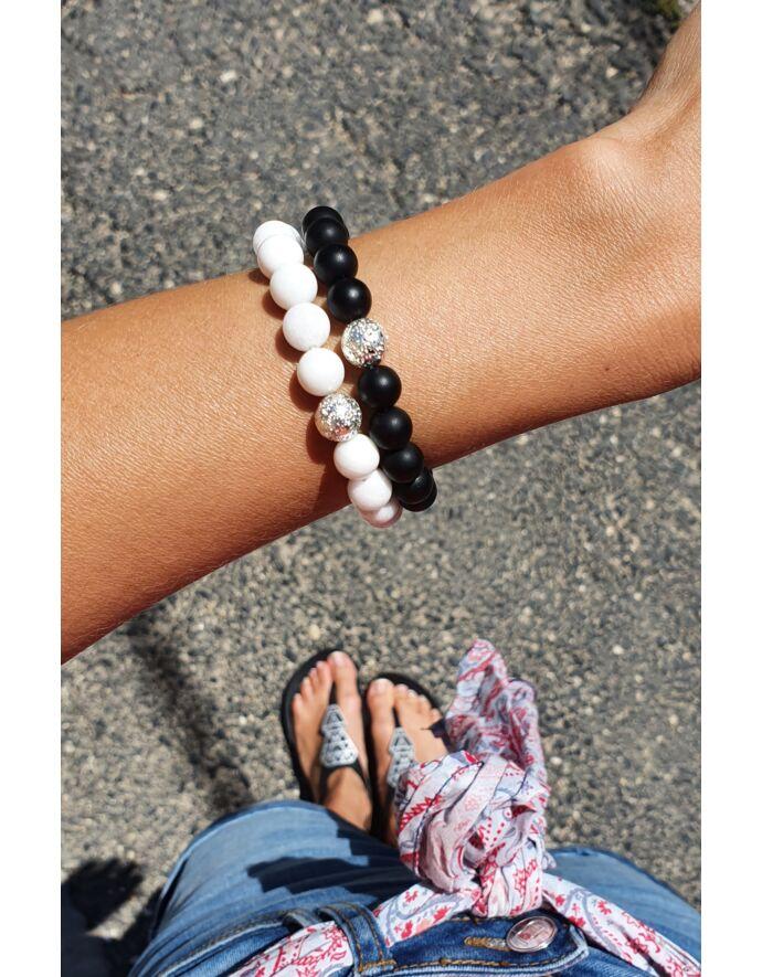 Ezüst lávaköves Black&White szerelmi karkötőpár