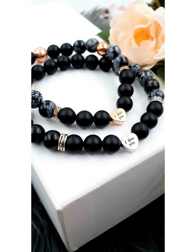 I LOVE YOU medálkás black&rosegold pároskarkötő
