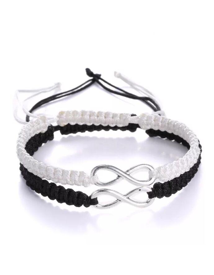 Végtelen jeles fekete & fehér karkötőpár pároskarkötő páros karkötő forever together közös karkötő végtelen