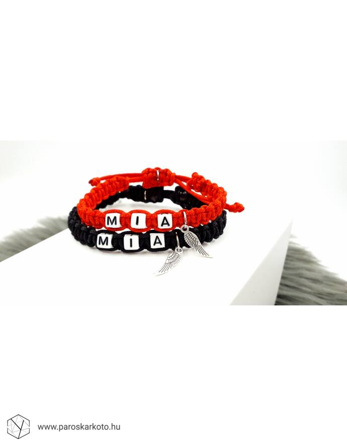 Piros&Fekete zsinóros páros karkötő angyalszerny medálokkal_1
