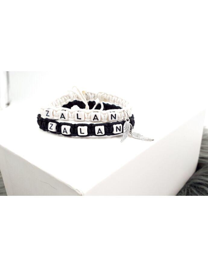 Fehér&Fekete páros karkötő angyalszárny medálokkal_1