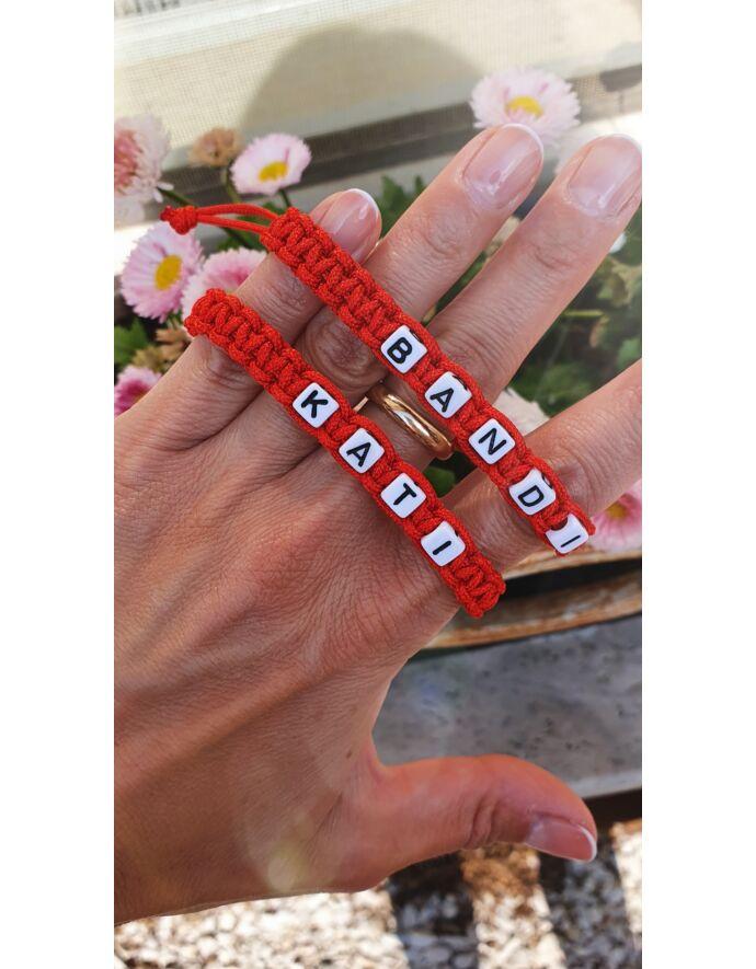 Piros zsinóros páros karkötő névvel_1