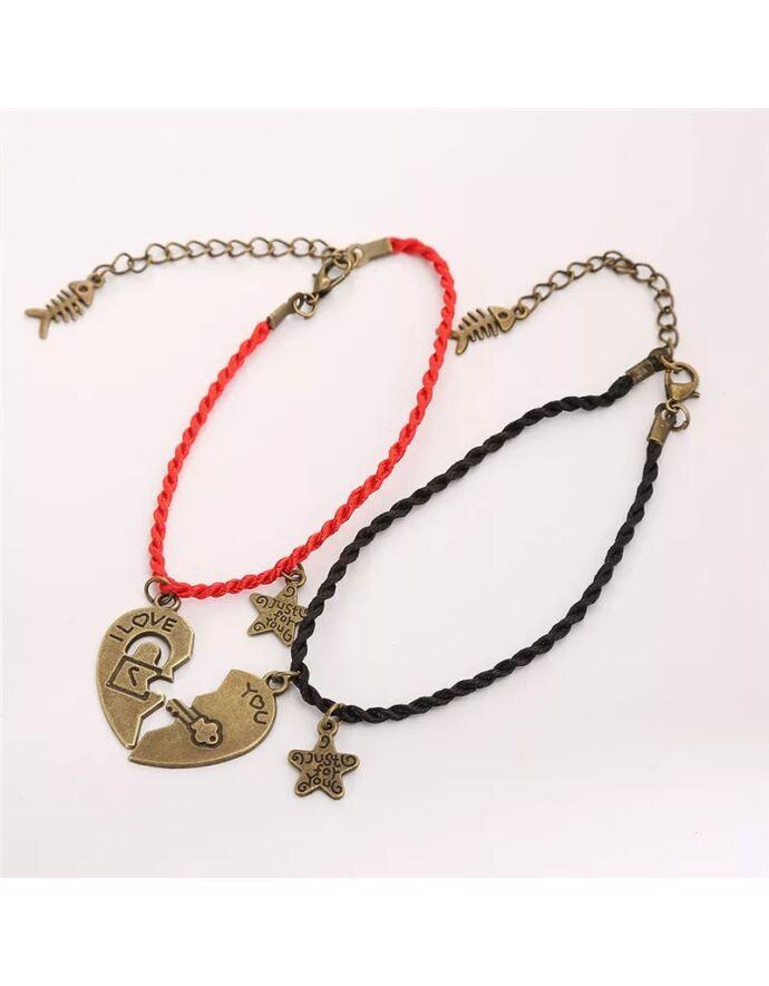 Black&Red zsinór pároskarkötő fébetört szív medálokkal