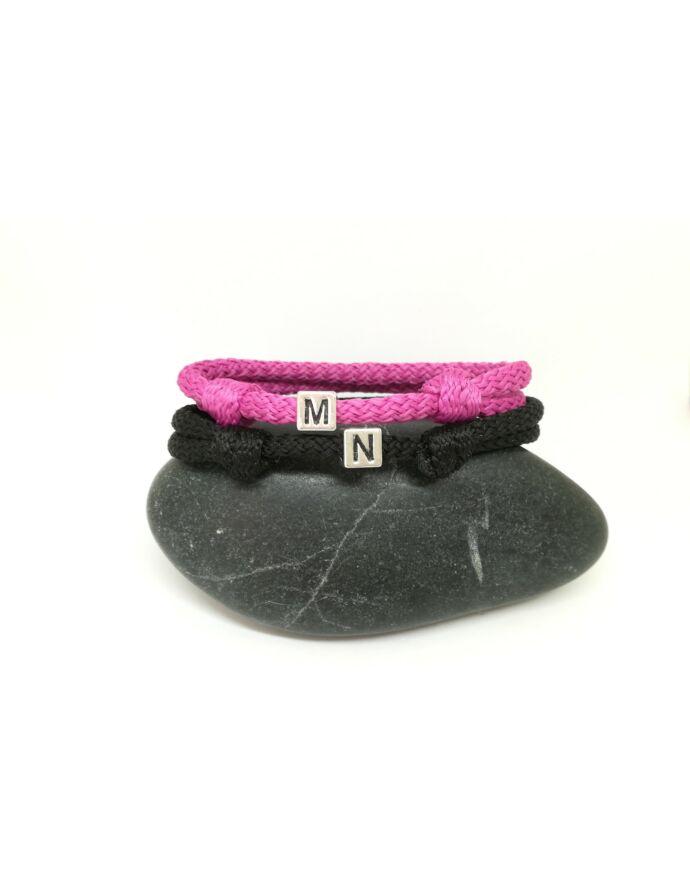 Pink-Fekete  vastag zsinóros pároskarkötő