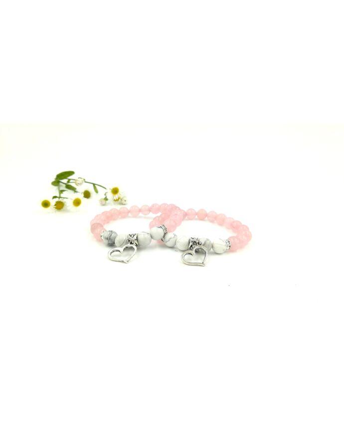 Rózsakvarc szívecske medálos Anya-Lánya karkötőpár