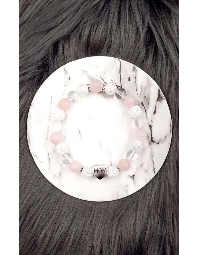 """""""MOM"""" medálos rózsakvarc - hegyikristály karkötő"""