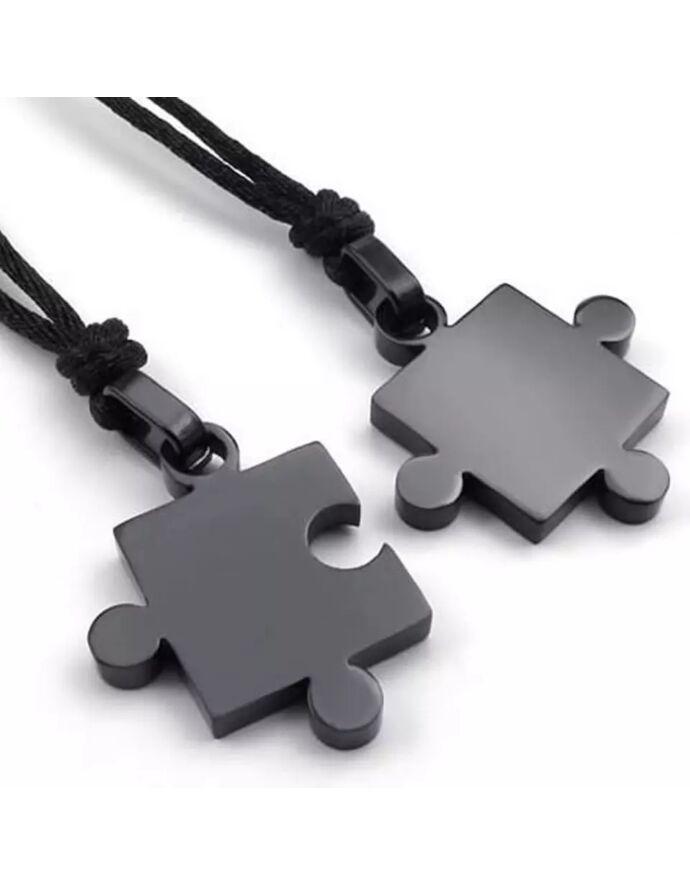 Puzzle két részes párosnyaklánc fekete színben_2