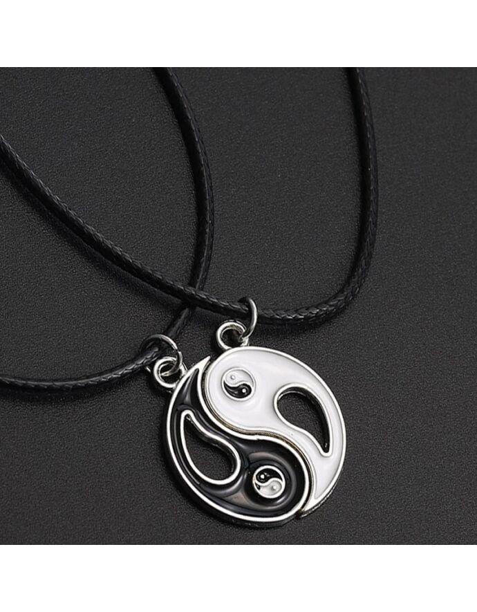 Jin - jang medálos párosnyaklánc pároskarkötő, yvonnedesign, ékszer, ékszerek, karkötő, karkötők, szerelem, ásvány, nyaklánc, jin-jang, jin jang, fekete fehér, ajándékötlet