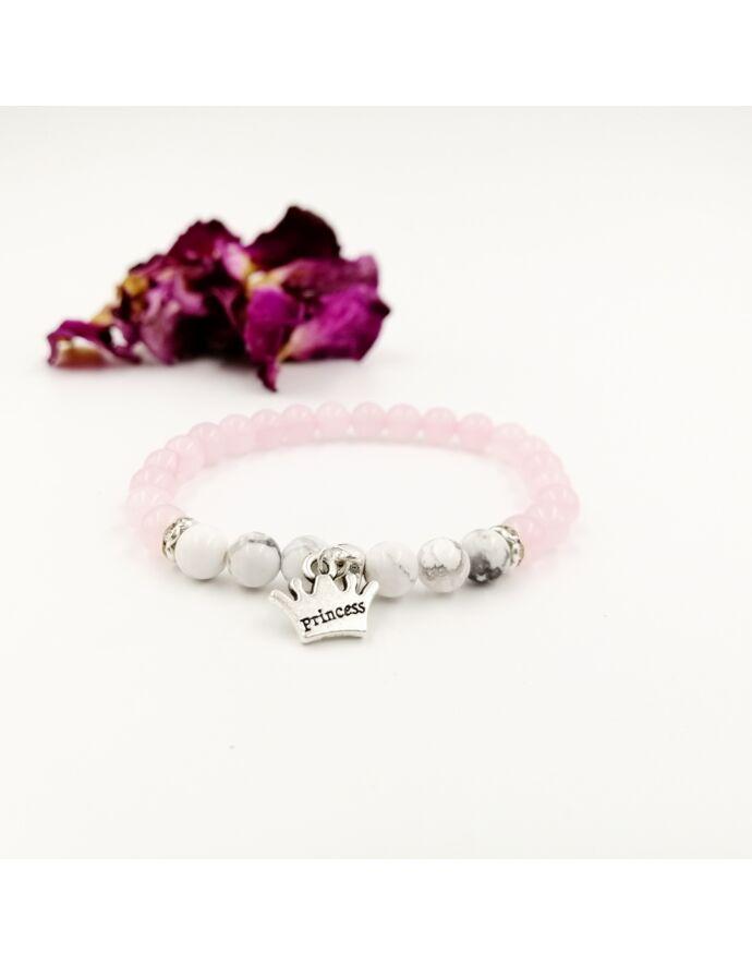 Princess medálos rózsakvarc karkötő