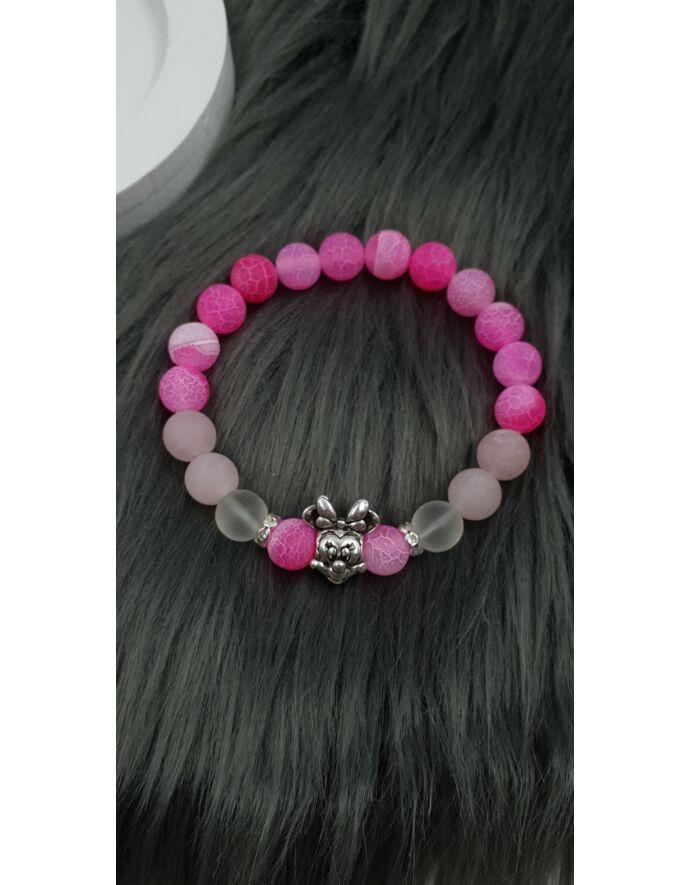 Minnie egeres pink achát ásványkarkötő