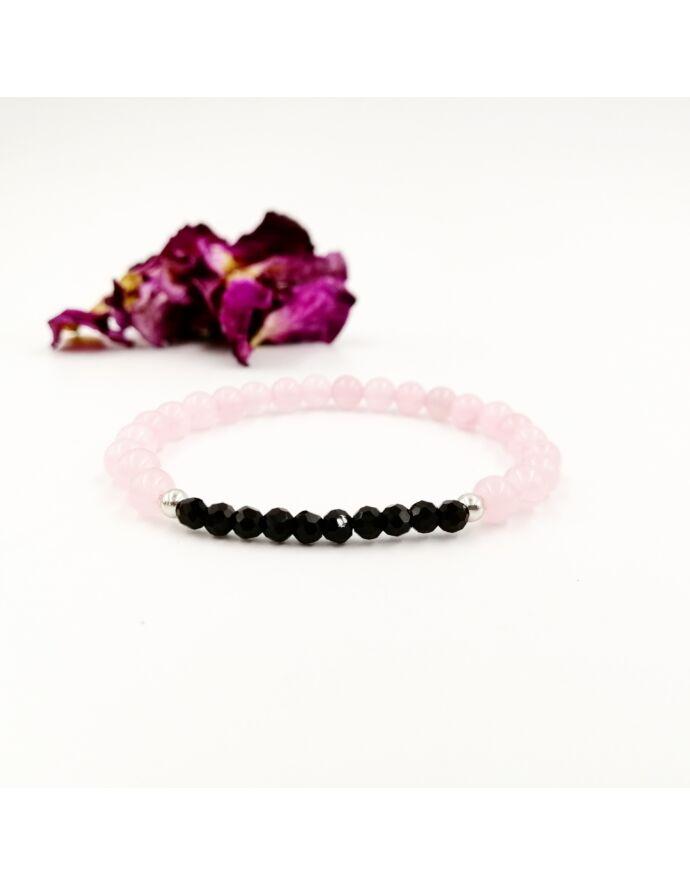 Rózsakvarc ásványkarkötő fekete apró kristállyal