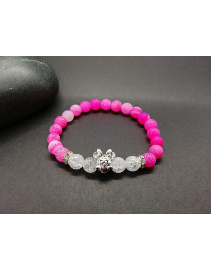 Minnie egeres pink achát-hegyikristály ásványkarkötő_1