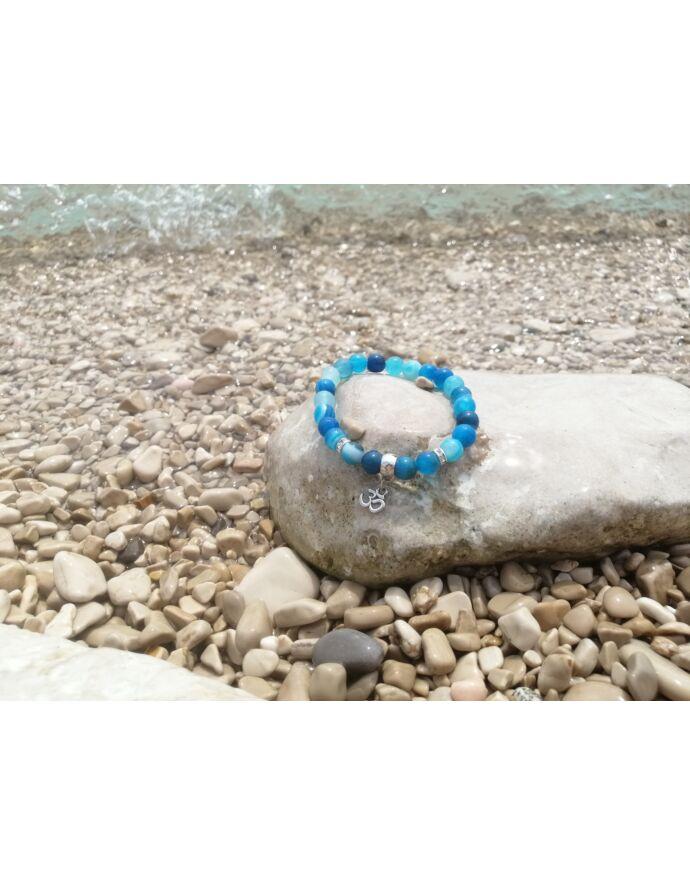 """""""Blue ocean""""  achát ásványkarkötő"""
