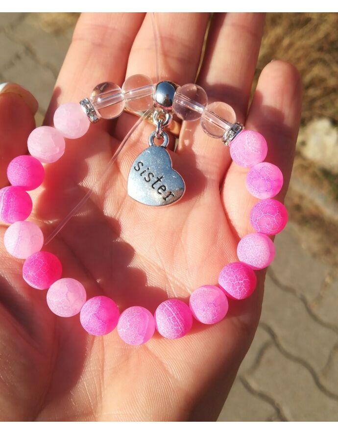 """""""Sister"""" medálos pink achát ásványkarkötő"""