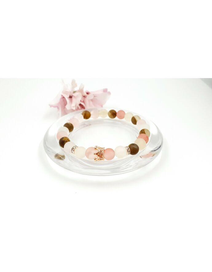 Rosegold korona medálos LUXURY ásványkarkötő