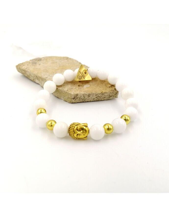 Hófehér tejkvarc arany buddha fejes LUXURY karkötő