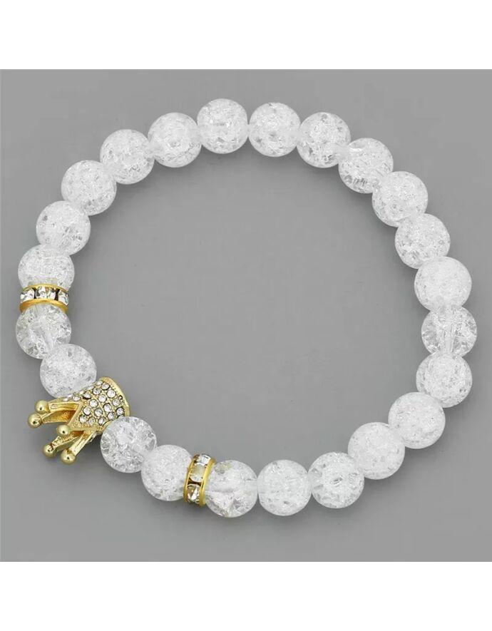 Hegyikristály LUXURY ásványkarkötő arany koronával_1