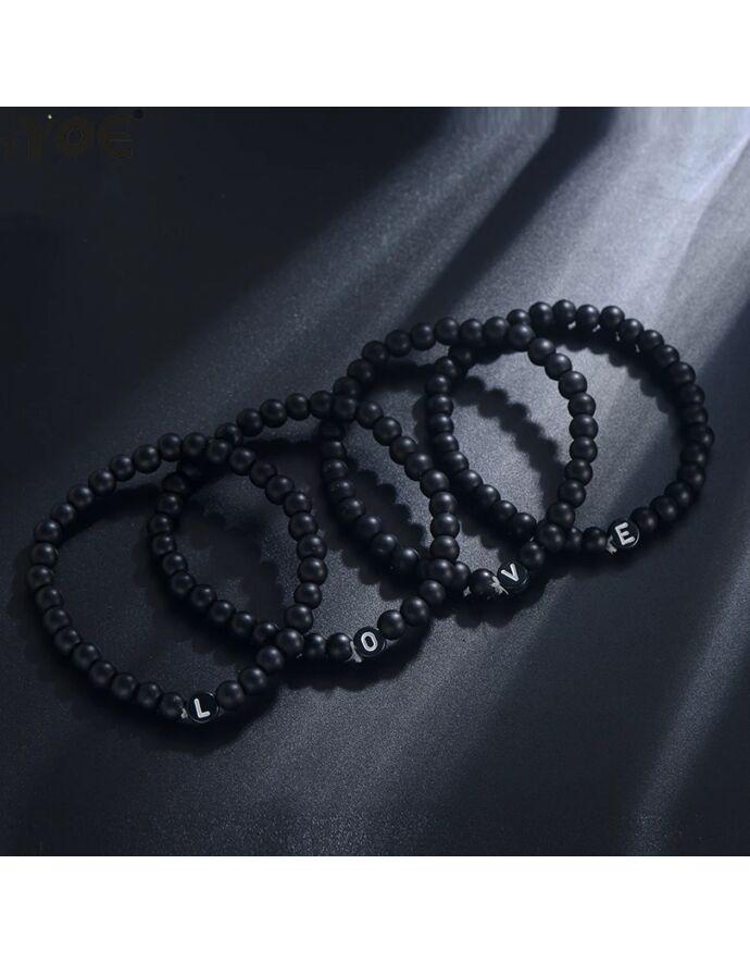 Álomszép fekete ónix betűs karkötő_1