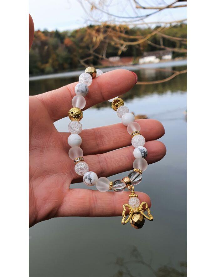 """Yvonne Design """"Arany angyal"""" kristálykarkötő"""