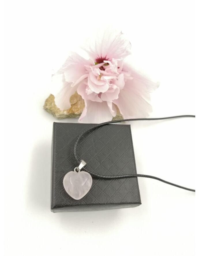 Szívecske rózsakvarc ásvány nyaklánc