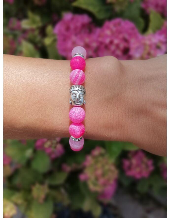 Pink achát ásványkarkötő buddha fejjel_1