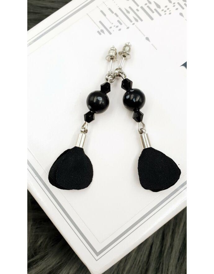 """""""Fekete virág""""gyöngyös fülbevaló _1"""