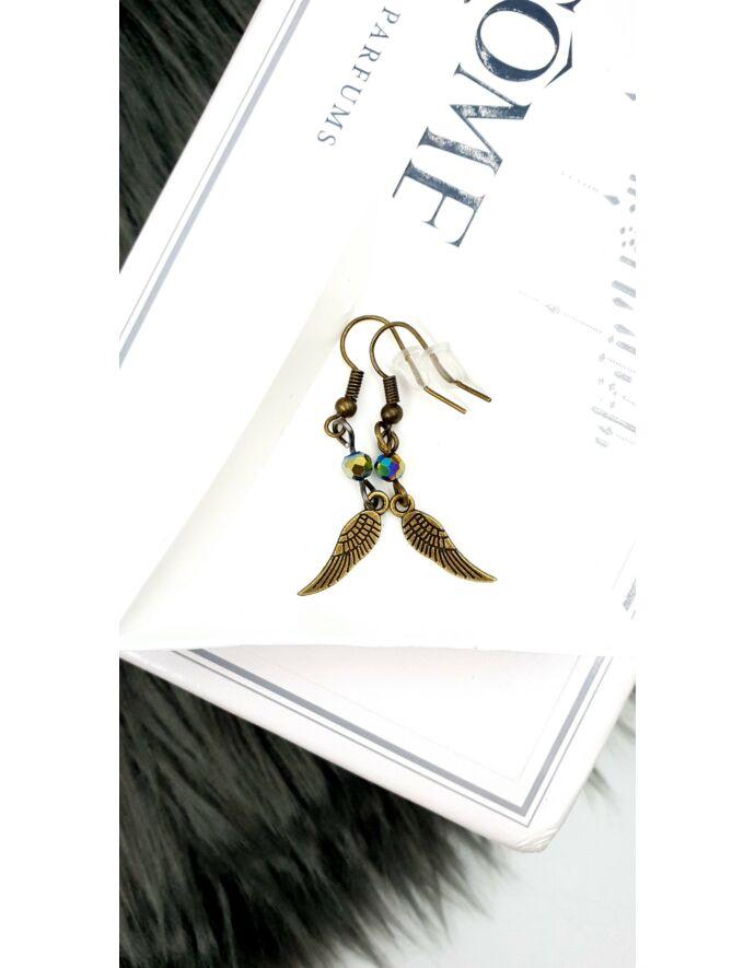 """Angyalszárny """"bronz"""" gyöngyös fülbevaló"""