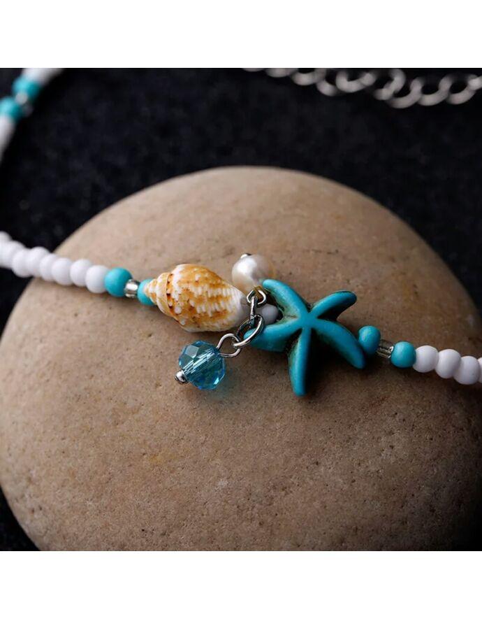 Türkiz - fehér bokalánc csillaggal és kagylóval_2