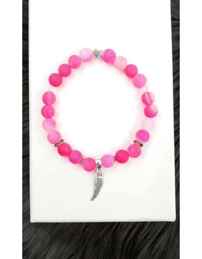 Angyalszárny pink achát ásványkarkötő_1