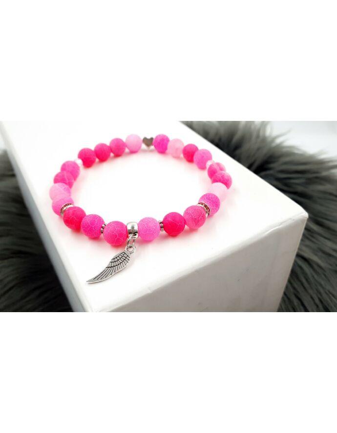 Angyalszárny pink achát ásványkarkötő