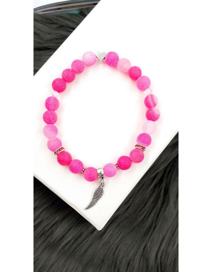 Angyalszárny pink achát ásványkarkötő_3