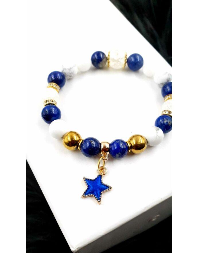 Kék csillag medálkás ásványkarkötő