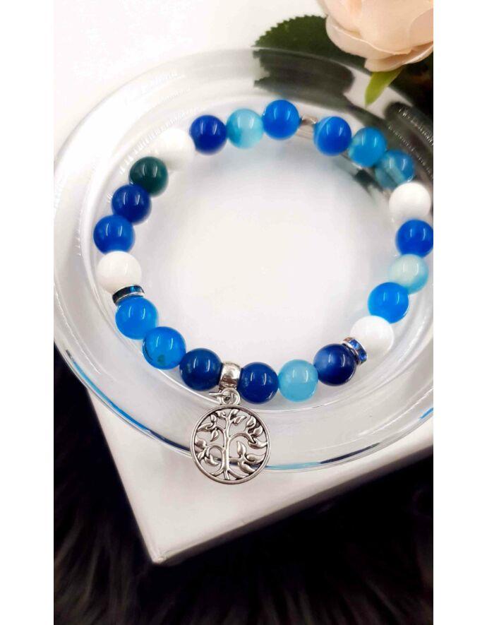 Életfa medálos kék achát ásványkarkötő