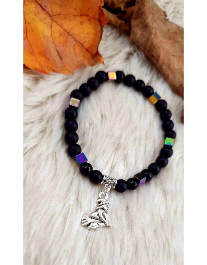 Halloween boszi boszorkány medálos ásványkarkötő