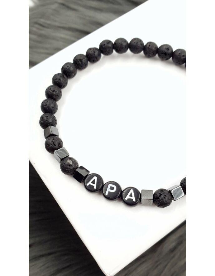 """Lávakő - Hematit ásványkarkötő """"APA"""" felirattal_2"""