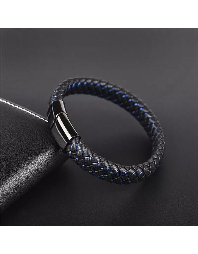Fonott kapcsos bőr férfi karkötő kék-fekete_1