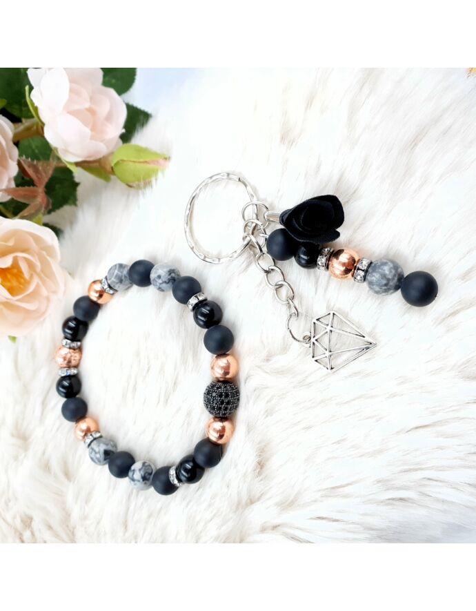 Rosegold&Black ékszerszett, ékszer szett, ajándékötlet, rosegold, kulcstartó