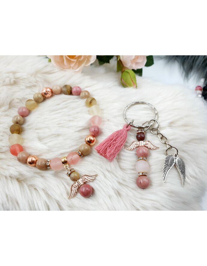 Rosegold angyal ékszerszett, ékszer szett, ajándékötlet, rosegold, kulcstartó ékszerszett, ékszer szett, ajándékötlet, rosegold, kulcstartó, rodonit