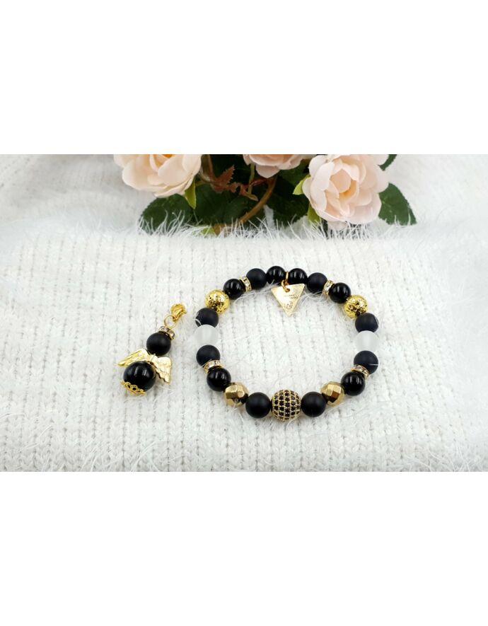 Yvonne design black angyal ékszerszett, ékszer szett, ajándékötlet, rosegold, kulcstartó ékszerszett, ékszer szett, ajándékötlet, rosegold, kulcstartó,