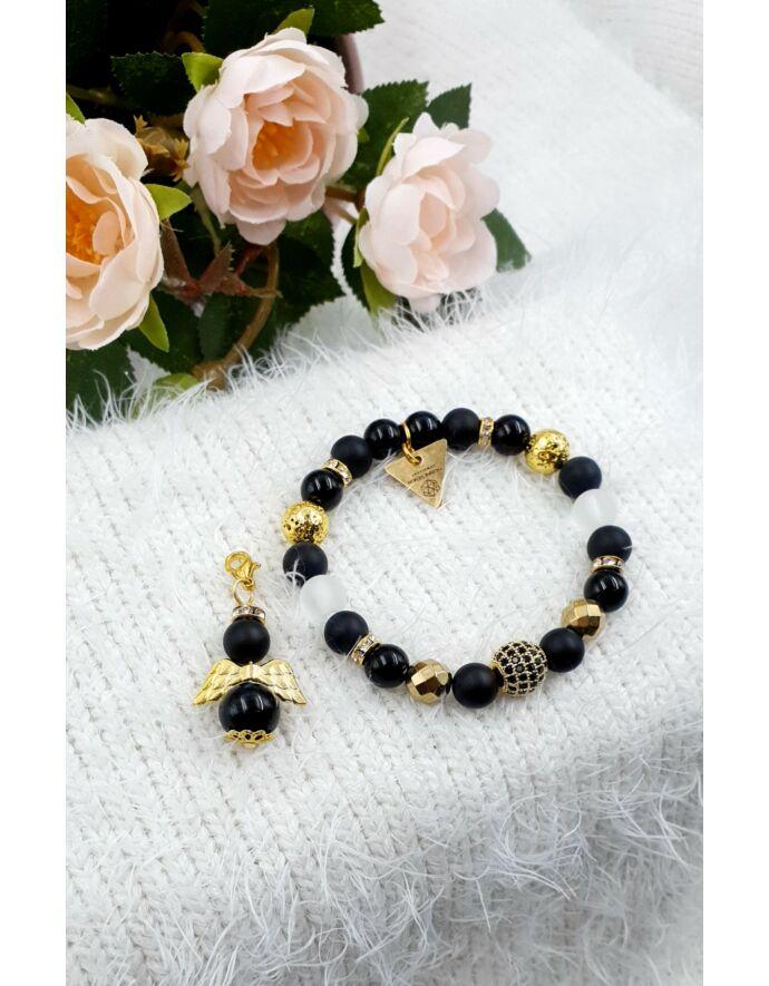 Yvonne design black angyal ékszerszett, ékszer szett, ajándékötlet, rosegold, kulcstartó ékszerszett, ékszer szett, ajándékötlet, rosegold, kulcstartó, rodonit