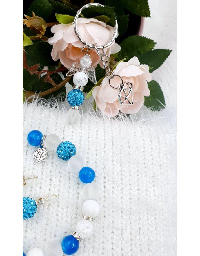 """""""Blue angyal"""" ékszerszett, ékszer szett, ajándékötlet, rosegold, kulcstartó ékszerszett, ékszer szett, ajándékötlet, rosegold, kulcstartó, rodonit"""