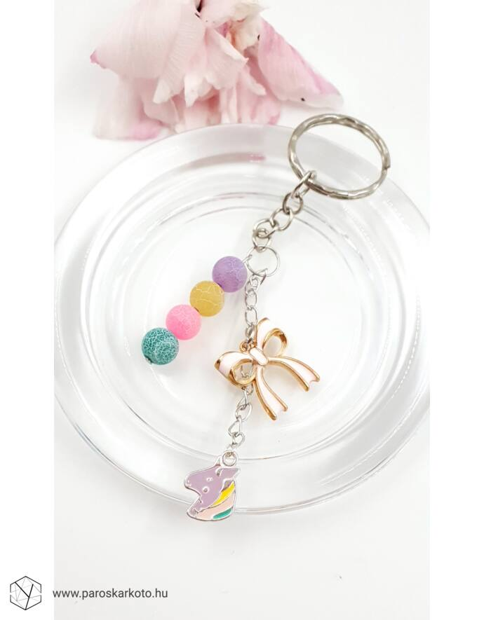 Unicornis  kulcstartó ásvány gyöngyökkel unikornis, ajándék ötlet, ajándék kulcs