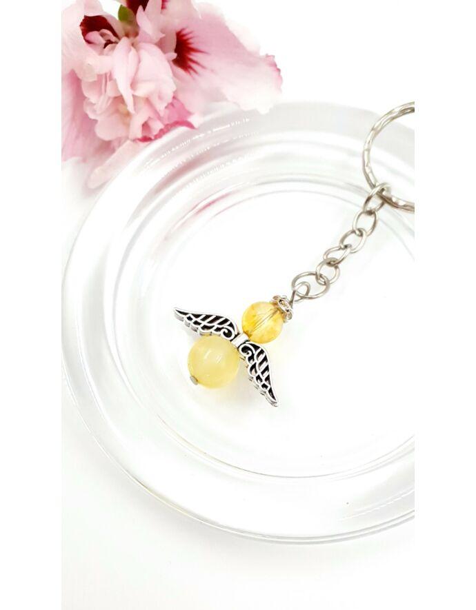 Sárga citrin angyal kulcstartó