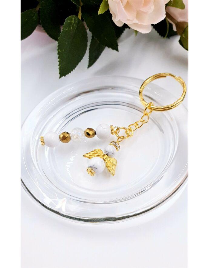Arany szín kulcstartó angyal medállal