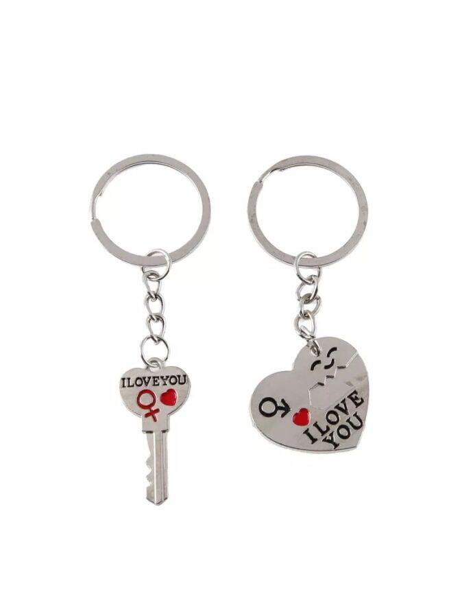 Pároskulcstartó szív alakú lakat-kulcs páros fityegővel_1