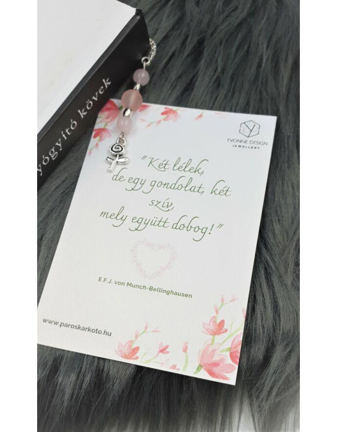 Rózsakvarc virág medálkás könyvjelző - idézettel_1
