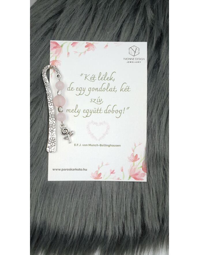 Rózsakvarc virág medálkás könyvjelző - idézettel